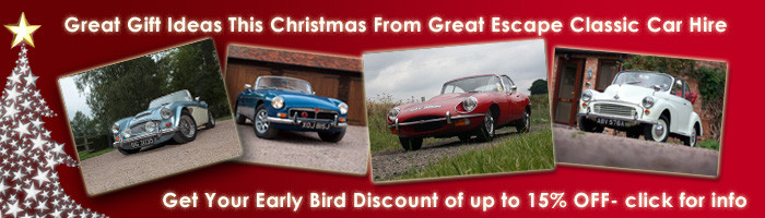 Great Escape Classic Car Hire 15% off Christmas gift vouchers and classic car gift experiences when you book in October
