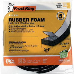 ThermwellProductsCoInc FrostKing Rubber Foam Self-Stick Weatherseal 10ft Roll (Multiple Thicknesses)