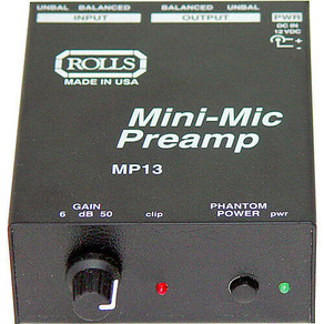 RollsCo MP13 Mini-Mic Microphone 1 Channel Phantom Power Preamp / Processor Amplifier