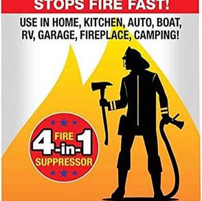 HomeFirstLLC The Fireman 4-In-1(Class A,B,C,K) Non-Toxic Fire Suppressor Spray (18oz Can)
