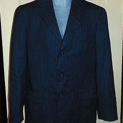 Tommy Hilfiger Black Pinstripe Wool Blazer Jacket