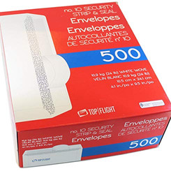 Top Flight White Strip & Seal Envelopes (500count)