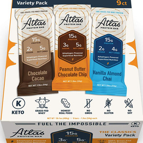 AtlasBarLLC 100% Grass-Fed Whey Protein Bar Variety Pack Keto Friendly (Multiple Sizes)