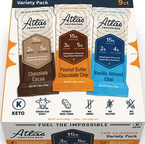 AtlasBarLLC 100% Grass-Fed Whey Protein Bar Variety Pack Keto Friendly (Multiple Sizes)
