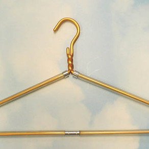 Dodco Gold / Silver Colored Aluminum Non-Slip Clear Vinyl Wrapped Clothes Hanger