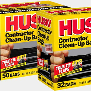 Poly-AmericaInc Husky 42gallon Heavy-Duty Contractor Clean Up Bags with Tie Flaps (Multiple Sizes)
