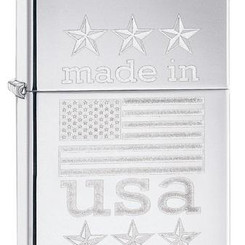 Zippo Made in USA With Flag Engraved Lighter