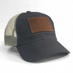WorkersUnited Leather Patch Unstructured Mesh Baseball Cap (Velcro Strap)