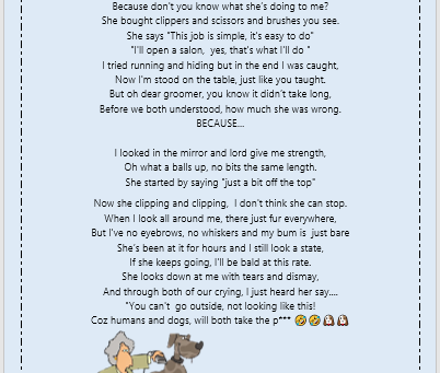 Dog grooming at home in Isolation Poem!