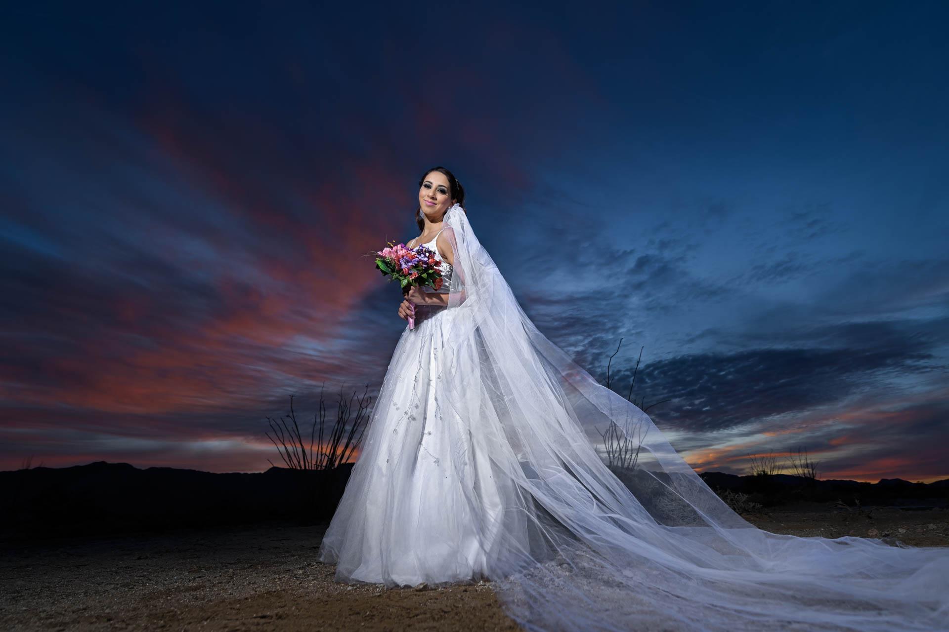 Fotografia de Boda - foto de la novia en el desierto