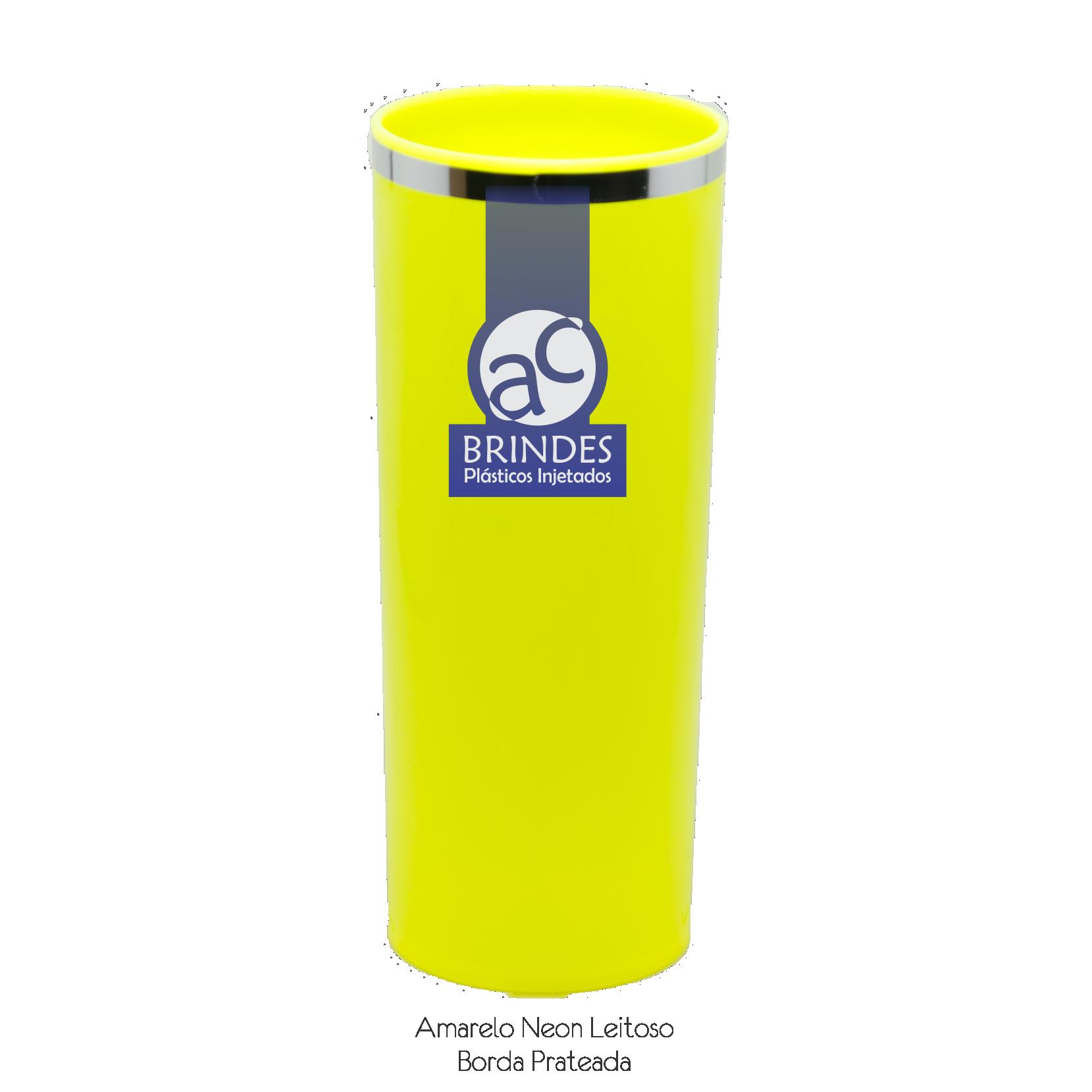 Amarelo Neon Leitoso Borda Prateada