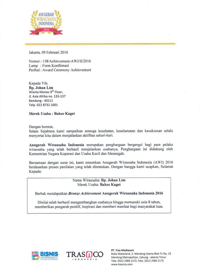 Maret 2016 : Bakso Kaget Anugerah Wirausaha Indonesia 2016