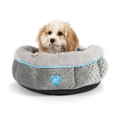 Small Bite Donut Bed 50cm Gray with Blue