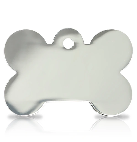 Large Silver Bone Engraved ID Tag