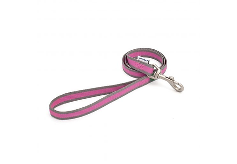 Made From Dog Lead Pink & Grey Stripe. 100cm x 1.9cm
