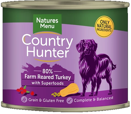 COUNTRY HUNTER CANS  FARM REARED TURKEY WITH SUPERFOODS  FOR ADULT DOGS 600g