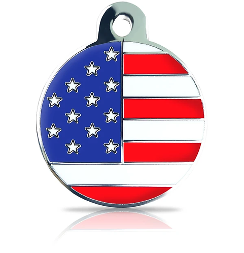 Large USA Flag Round Engraved ID Tag