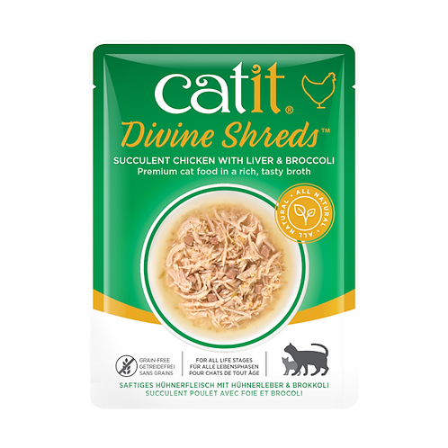 Catit Divine Shreds – Chicken with Liver & Broccoli in Tasty Broth 75g