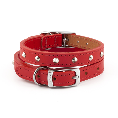 CLASSIC BRIDLE LEATHER STUDDED COLLAR RED. Price from