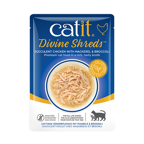 Catit Divine Shreds – Chicken with Mackerel & Broccoli in Tasty Broth 75g
