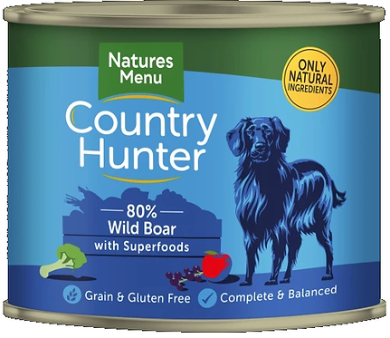 COUNTRY HUNTER CANS  WILD BOAR WITH SUPERFOODS  FOR ADULT DOGS 600g