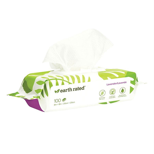 Earth Rated Compostable Pet Wipes. 100 wipes Lavender