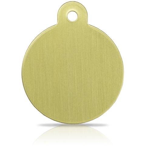 Large Brass Round Engraved ID Tag