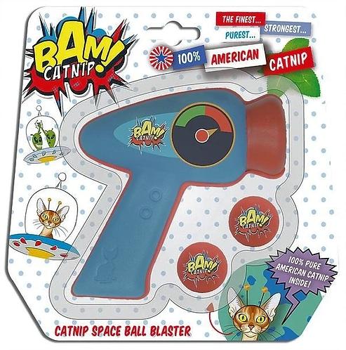 Bam! Catnip Space Ball Blaster Pop Gun  Cat Toy