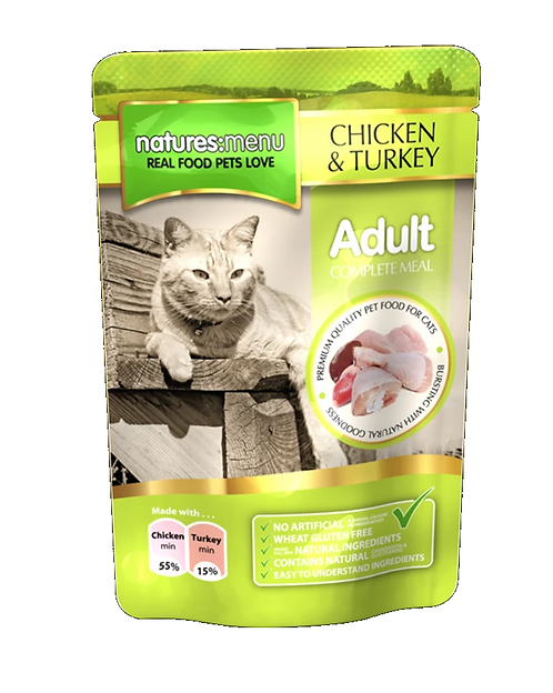 NATURES MENU CAT POUCHES  CHICKEN WITH TURKEY  FOR ADULT CATS 100g