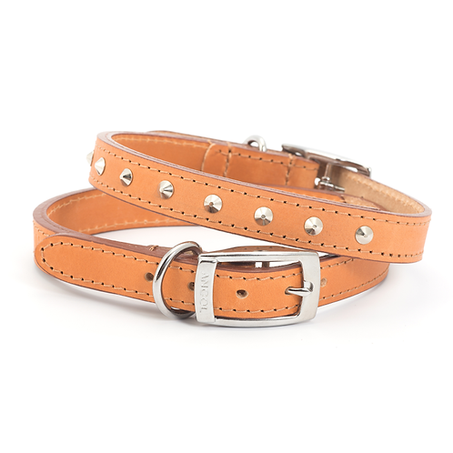 CLASSIC BRIDLE LEATHER STUDDED COLLAR TAN. Price from