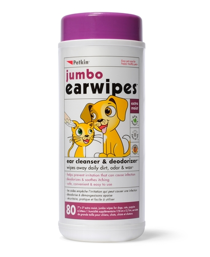 Petkin Jumbo Ear Wipes 80 wipes