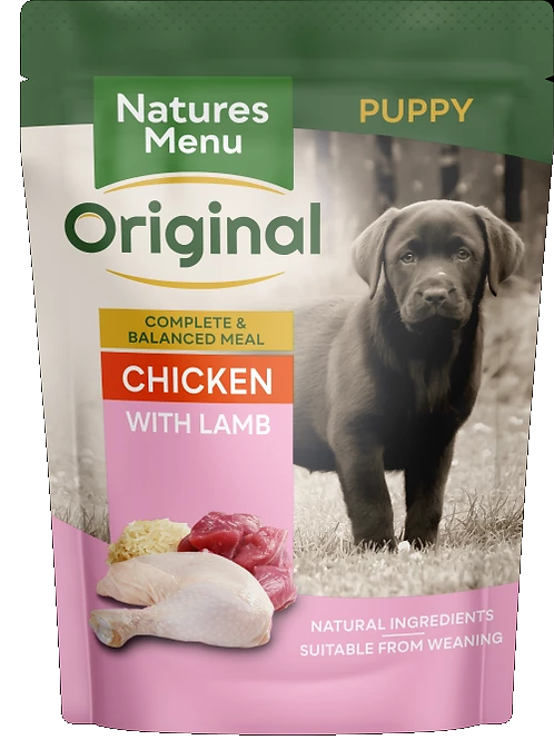 NATURES MENU DOG POUCHES  JUNIOR CHICKEN WITH LAMB  FOR PUPPIES 300g
