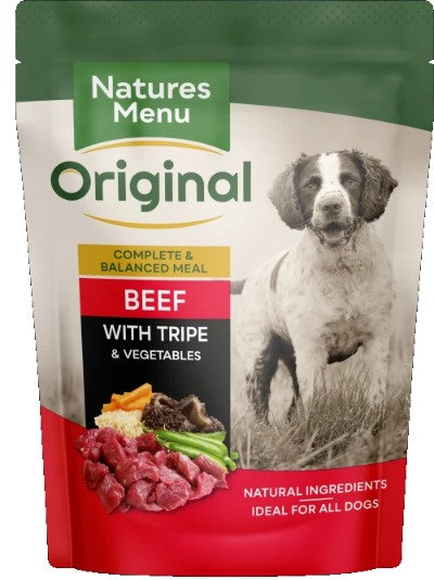 NATURES MENU DOG POUCHES BEEF WITH TRIPE 300g