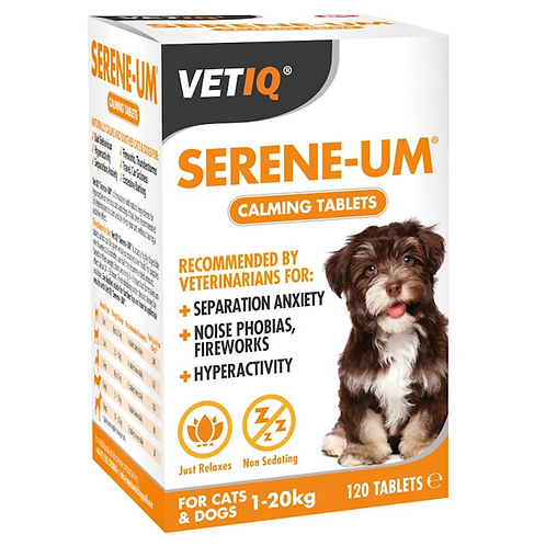 Serene-Um Calming Tablets For Cats & Dogs up to 20kg. 120pk