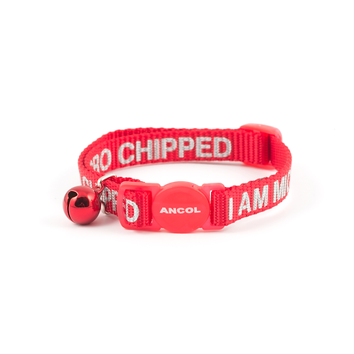 I AM MICRO CHIPPED SAFETY CAT COLLAR, RED