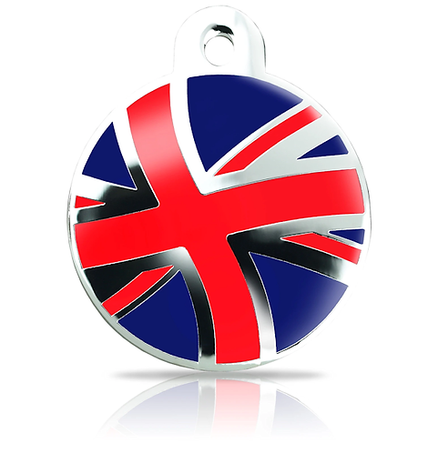 Large Great Britain Union Flag Round Engraved ID Tag