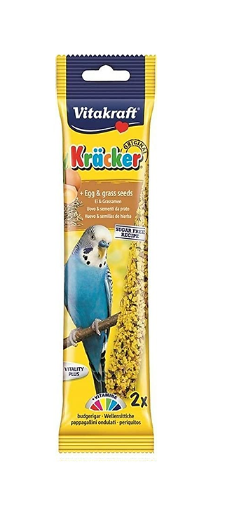 Vitakraft Budgie Kräcker Egg & Grass Seeds. Twin Pack