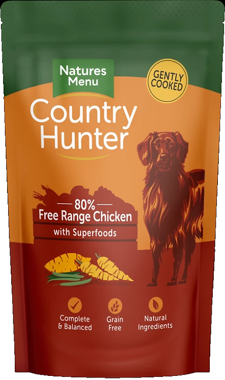 COUNTRY HUNTER DOG POUCHES  FREE RANGE CHICKEN  FOR ADULT DOGS 150g