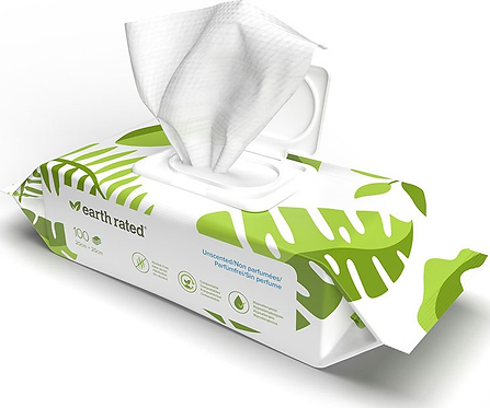 Earth Rated Compostable Pet Wipes. 100 wipes Unscented