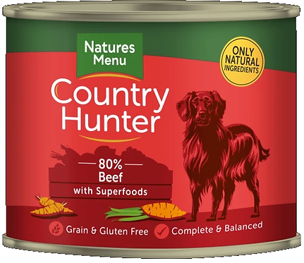 COUNTRY HUNTER CANS  BEEF WITH SUPERFOODS  FOR ADULT DOGS 600g