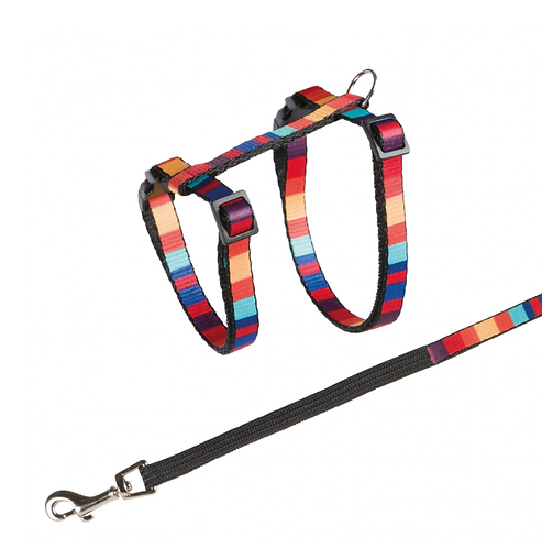 Multi Coloured Cat Harness with Shock Absorbing Lead