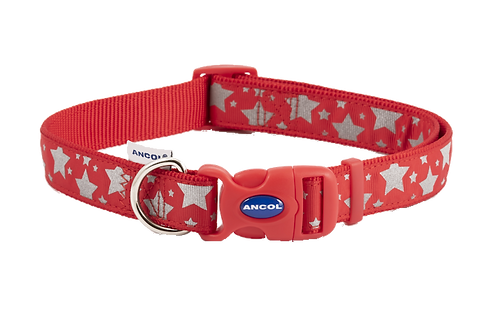 FASHION COLLAR RED REFLECTIVE STARS. Price from