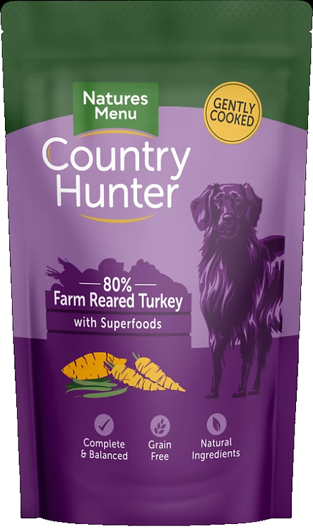 COUNTRY HUNTER DOG POUCHES  FARM REARED TURKEY  FOR ADULT DOGS 150g