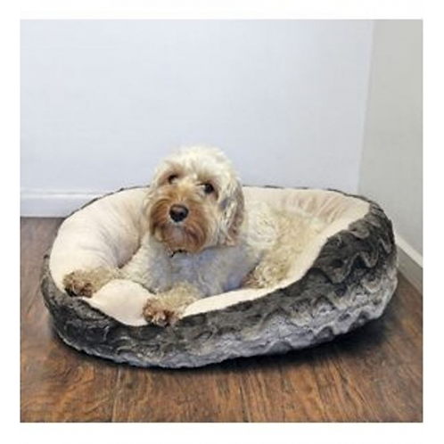 40 Winks Grey & Cream Plush Snuggle Bed. Price from