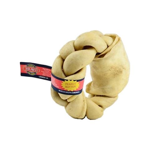 Bravo Braided Donut Rawhide Chew. Peanut Butter Flavour