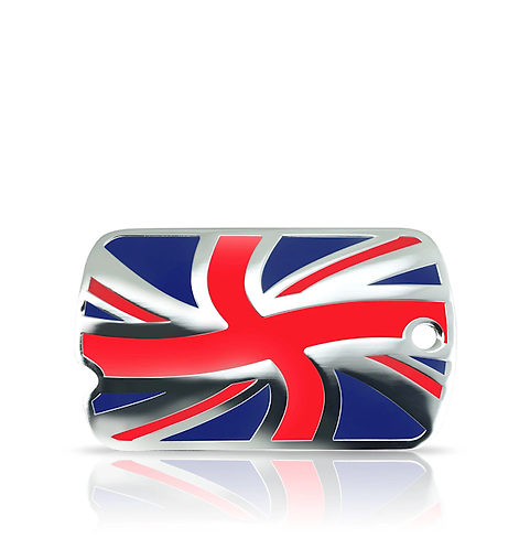 """Large Great Britain Union Flag """"Military"""" Engraved ID Tag"""