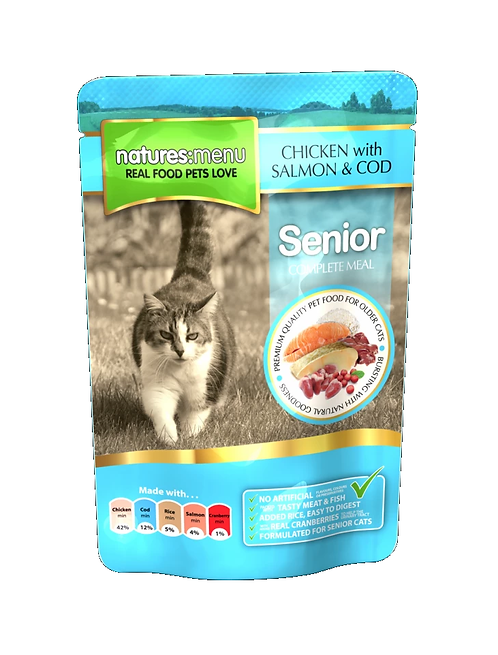 NATURES MENU CAT POUCHES  SENIOR CHICKEN, SALMON AND COD  FOR ADULT CATS 100g