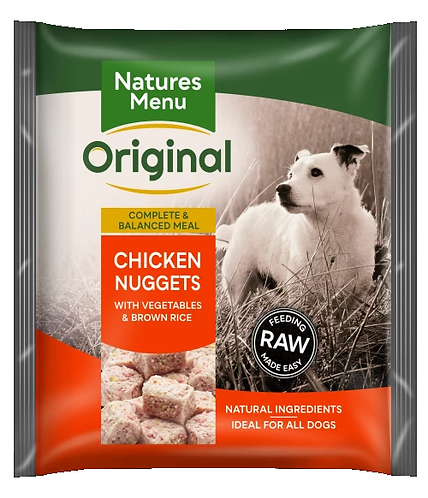 NATURES MENU RAW MEALS  CHICKEN NUGGETS  FOR ADULT DOGS 1kg