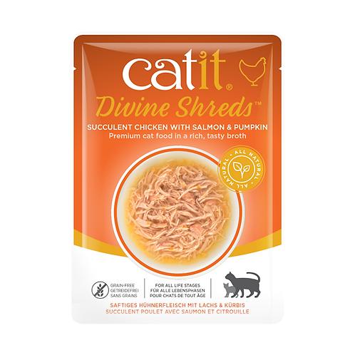 Catit Divine Shreds – Chicken with Salmon & Pumpkin in Tasty Broth 75g