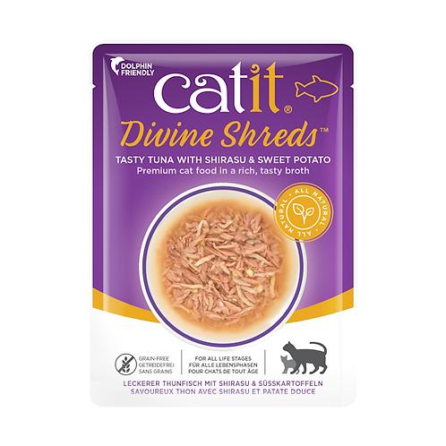 Catit Divine Shreds – Tuna with Shirasu & Sweet Potato in Tasty Broth 75g